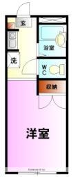コーポKARUGAMO 3階ワンルームの間取り