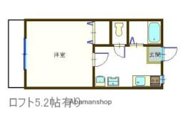JR中央本線 甲府駅 徒歩20分の賃貸アパート 2階1Kの間取り