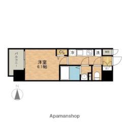 JR中央本線 金山駅 徒歩7分の賃貸マンション 2階1Kの間取り