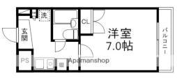 pure dormitory SHIMIZU 1階1Kの間取り