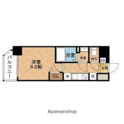 阪急神戸本線 中津駅 徒歩2分の賃貸マンション 9階1Kの間取り