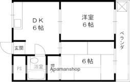 南海高野線 白鷺駅 徒歩19分の賃貸マンション 3階2DKの間取り