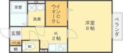 近鉄道明寺線 道明寺駅 徒歩11分の賃貸アパート 1階1Kの間取り