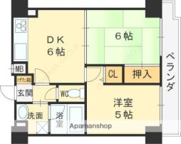 京阪本線 守口市駅 徒歩2分の賃貸マンション 10階2DKの間取り