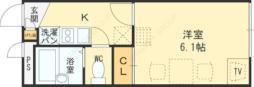 レオパレスセブンスヒルIIIプラス 2階1Kの間取り