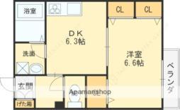 近鉄大阪線 長瀬駅 徒歩7分の賃貸アパート 3階1DKの間取り