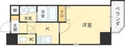 Osaka Metro四つ橋線 西梅田駅 徒歩2分の賃貸マンション 2階1Kの間取り