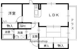 近鉄信貴線 信貴山口駅 徒歩4分の賃貸アパート 1階2LDKの間取り