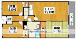 南海高野線 初芝駅 徒歩4分の賃貸マンション 2階3LDKの間取り