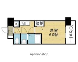 レジュールアッシュOSAKA新深江 6階1Kの間取り