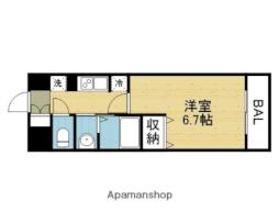 Osaka Metro谷町線 平野駅 徒歩3分の賃貸マンション 9階1Kの間取り