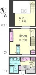Felice Minami(フェリーチェ ミナミ) 2階ワンルームの間取り
