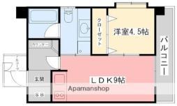 伊予鉄道高浜線 大手町駅 徒歩1分の賃貸マンション 2階1LDKの間取り