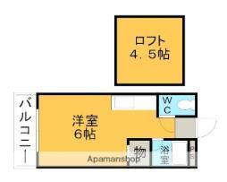西鉄天神大牟田線 大保駅 徒歩6分の賃貸アパート 1階ワンルームの間取り