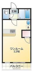 メゾンドU 3階ワンルームの間取り