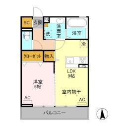 (仮)D-room旭町II 2階1LDKの間取り