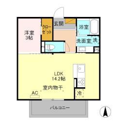 JR信越本線 川中島駅 徒歩29分の賃貸アパート 3階1LDKの間取り