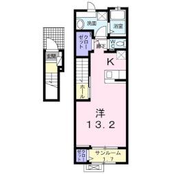 バーミィ・フィオーレ 2階1Kの間取り
