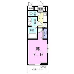 沼影アパート(024181802) 2階1Kの間取り