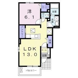 プリムローズ・ドゥ・アンジュI 1階1LDKの間取り