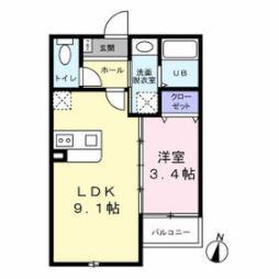 TAKON石丸 2階1LDKの間取り