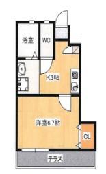 JR山陽本線 東岡山駅 徒歩10分の賃貸アパート 1階1Kの間取り